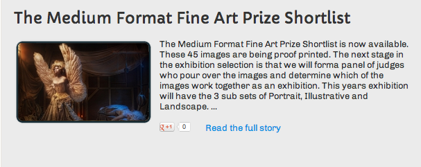 2013 Medium Format Fine Art Prize shortlist.