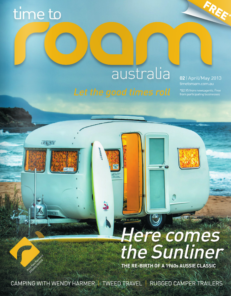 Vintage 'Sunliner' caravan. Cover of Time To Roam magazine, issue #2.